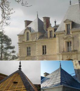 Rénovation d'une tour carrée en ardoises - Patrimoine