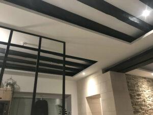 plafond et peinture déco sous planché bois ancien